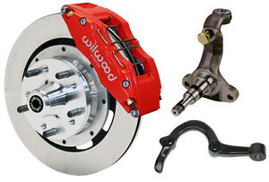 Wilwood Disc Brake Kit spindles arms lines front 64 72 12 Rotors 6 Piston Red