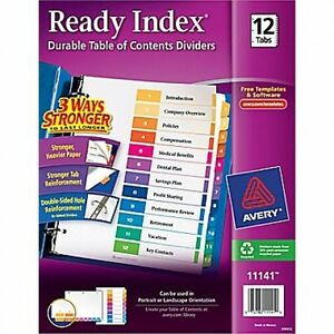 Avery 11141 12 tab Ready Index Multicolor Table Of Contents Divide