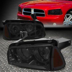 For 06 10 Dodge Charger Smoked Housing Amber Corner Headlight Replacement Lamps