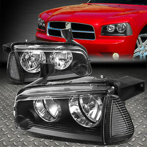 For 06 10 Dodge Charger Black Housing Clear Corner Headlight Replacement Lamps