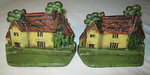 Antique Washington Country Cottage Art Home House Cast Iron Bookends 2 Doorstop