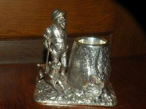 Antique Tufts Figural Silverplate Silver Plate Toothpick Holder Monkey Hunting