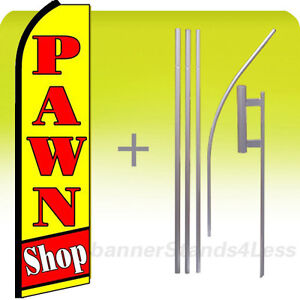 Pawn Shop Swooper Flag Kit Feather Flutter Banner Sign 15 Tall Yq
