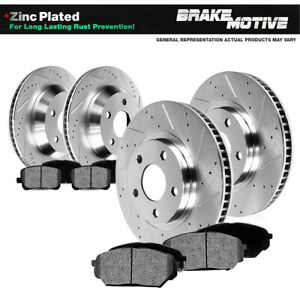 Front Rear 4 Drilled Slotted Brake Rotors And Metallic Pads F250 F350 4wd 4x4