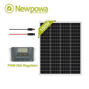 Newpowa 100w Watt 12v Solar Panel Pwm 10a 12v Charge Controller 6ft Mc4 Wire
