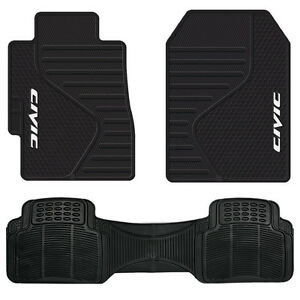 Universal Black Front Rubber Floor Mats All Weather Runner Mat For Honda Civic