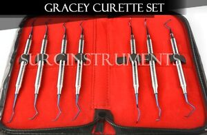7 Titanium Coated Gracey Curettes With Zipper Case Medical Dental Surgical