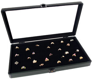 Aluminum Glass Top Jewelry Display Case W 72 Ring Pad