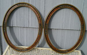 Rare Antique Eastlake Victorian Art Crafts Pr Oval Picture Frames 10 3 4 13 3 4