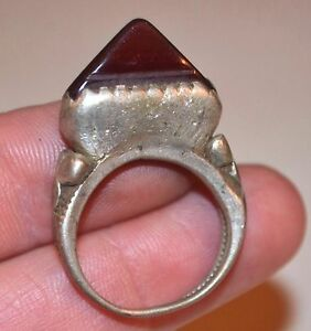 Antique Tuareg Ethnic Coin Silver Tribal Ring W Stone Niger Africa Ring Size 8