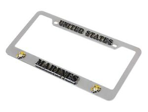 United States Marines Chrome Auto Car License Plate 3d Metal Tag Frame
