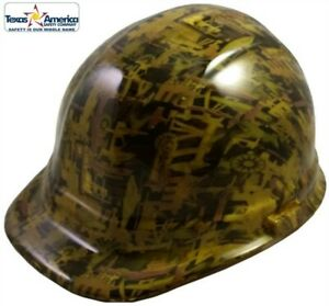 Oilfield Camo Yellow Hydro Dipped Cap Style Hard Hat With Ratchet Suspension