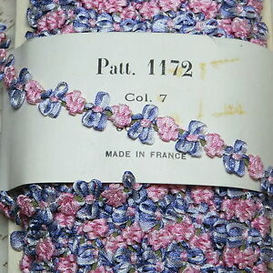 18 Antique Vtg French Violet Pink Rosette Ribbonwork Trim Doll Dress Flower