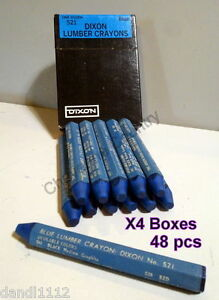 4 Blue Lumber Marking Crayons Dixon No 521 Joseph Dixon Crucible Co Box Of 12