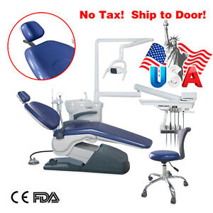 Computer Controlled Dental Unit Chair Hard Leather With Stool Chair Syringe Led