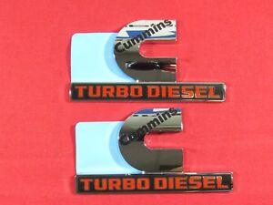 Dodge Ram 2500 3500 Set Of 2 Chrome Cummins Turbo Diesel Emblems New Oem Mopar