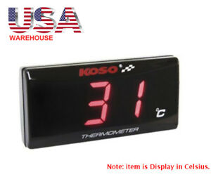 Koso Slimline Oil Water Thermometer Led Temperature Gauge Red Light To Usa