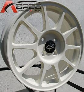 White 16x7 45 Rota R Spec 4x100 Rims Fit Civic Mini Cooper S Jcw John Work Crx