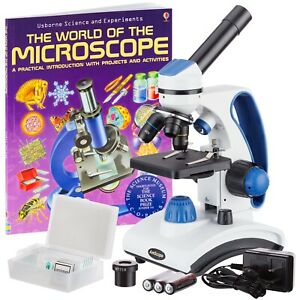 Amscope 40x 1000x Dual Light Glass Lens Student Microscope W slides Guide Book