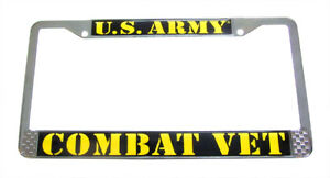 Army Combat Veteran License Plate Tag Frame Chrome Metal Made In The Usa