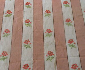 Antique French Roses Stripe Lisere Brocade Fabric Salmon Apricot Red Green