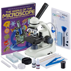 Amscope 40 1000x Portable Compound Microscope Slide Prep Cleaning Kit Book
