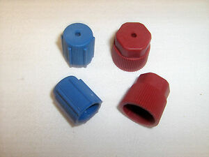 A C Charging Port Service Caps R134a 13mm 16mm Lot Of 4 Pieces Red Blue