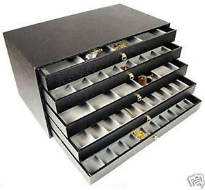 5 Drawer Jewelry Display Case Gemstones Beads Box Trays