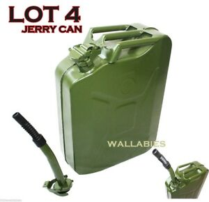 Lot 4 5 Gallon Nato Style 20l Green Jerry Can Oil Fuel Gas Steel Tank W Spout