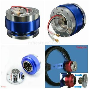 Universal Racing Steering Wheel 6 Hole Bolt Ball Bearing Quick Release Kit Blue