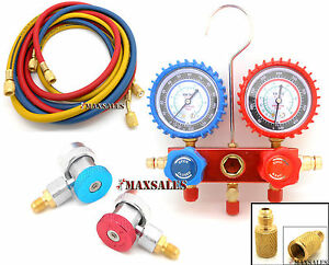 New A c Manifold Gauge Set W Hose Adjustable Couplers Aluminum R134a R12 R22