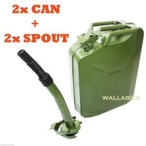 Lot 2 5 Gallon Nato Style 20l Green Jerry Can Oil Fuel Gas Steel Tank W 2 Spout