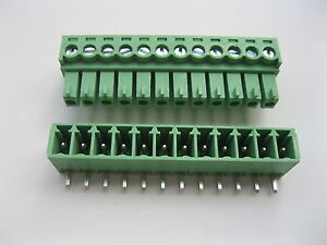 30 Pcs Screw Terminal Block Connector 3 5mm Angle 12 Pin Green Pluggable Type