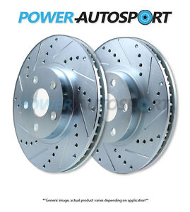 front Power Performance Drilled Slotted Plated Brake Disc Rotors P35118mbc