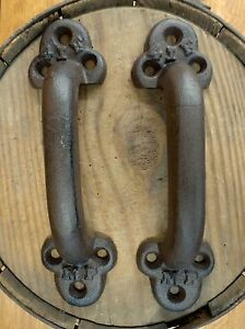 2 Brown Antique Style Cast Iron Large Rustic Railroad Boxcar Door Handles Pulls