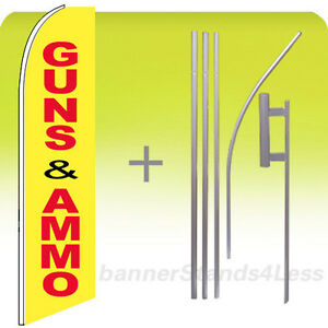 Guns Ammo Swooper Flag 15 Kit Feather Flutter Tall Banner Sign Yb