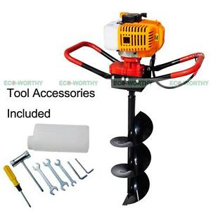 New 2 2 Hp Gas Powered Post Hole Digger W 8 Auger Drill Bit 52cc Power Engine