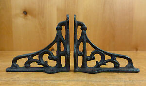 2 Small Brown Antique Style 4 Cast Iron Shelf Brackets Garden Rustic Scroll