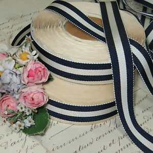 3y Dark Navy Blue White Pin Stripe Petersham Millinery Ribbon Men S Hat Vtg