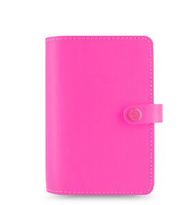 Filofax the Original Personal Fluoro Pink Leather Organiser 2018 Diary 022431