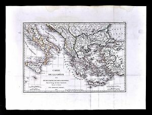 1822 Tardieu Map Ancient Greece Colonies Italy Athens Turkey Crete Aegean Sea