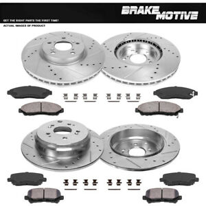 Front Rear Drill Slot Brake Rotors And 8 Ceramic Pads For Acura Mdx Zdx Pilot