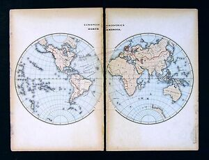 1869 Historical Map World Hemispheres European Discovery Of North America