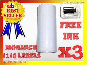 3 Sleeves White Label For Monarch 1110 Pricing Gun 3 Sleeves 48rolls
