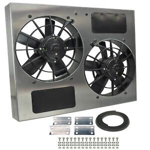 Derale 16835 High Output Dual 11 Electric Rad Fan aluminum Shroud Ip 68 Cert