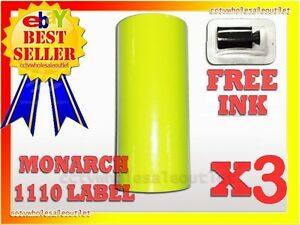 3 Sleeves Fluorescent Yellow Label For Monarch 1110 Pricing Gun 3sleeves 48rolls