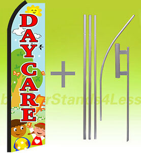 Day Care Swooper Flag Kit Feather Flutter Banner Sign 15 Set playground Z