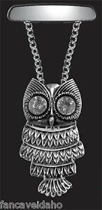 Adorable Silver Owl With Crystal Bling Eyes Rear View Mirror Auto Car Ornament