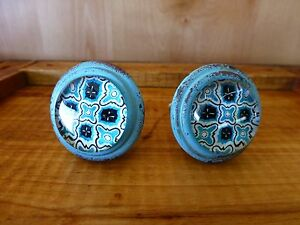2 Blue Victorian Glass Drawer Cabinet Pulls Knobs Vintage Chic Metal Hardware