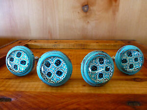 4 Blue Victorian Glass Drawer Cabinet Pulls Knobs Vintage Metal Chic Hardware